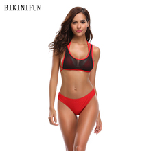 New Sexy Mesh Bra Bikini Women Swimsuit Girl Micro Solid Red Bathing Suit S-XL Strappy Thong 3 Piece Set