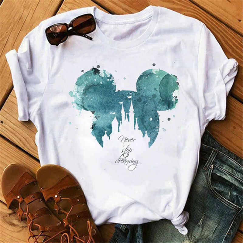 Camiseta estampada casual feminina, desenho animado, mouse, estampa, blusas para mulher, casual, gola redonda, roupas femininas, branco, mickey
