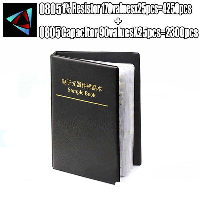 0805 SMD резистор 0R ~ 10 м 1% 170 valuesx25 шт. = 4250 шт. + конденсатор 92valuesx25 шт. = 2300 шт. 0,5 пФ ~ 22 мкФ книга для образцов
