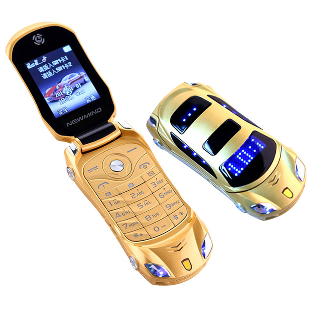Newmind F15 Flip Cellphone Dual-Sim GSM Led-Light Luxury Car Original title=