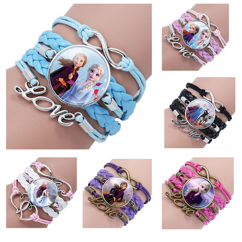 Disney Frozen II Princess Elsa Anna  Time Gem Multi-layer Bracelet Doll Children's Girls Cartoon Pink Braided Bracelet