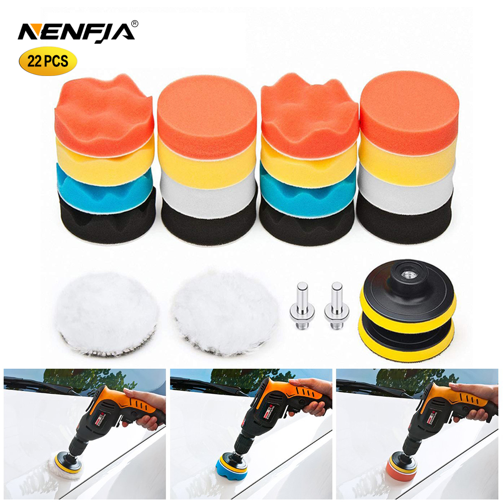 22Pcs Buffing Pad Set Thread 3/4/5/6/ Inch Auto Car Polishing Pad Kit For Car Polisher + Drill Adaptor M10 M14 Power Tools