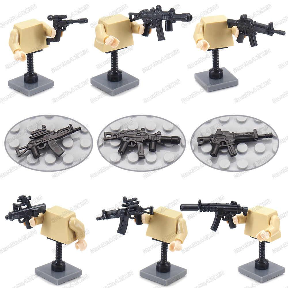 Montage Armee MP5 Maschinenpistole Set Waffen Militär WW2 Gebäude Block Soldat Figuren Ausrüstung Kampf Modell Kind Geschenk Spielzeug