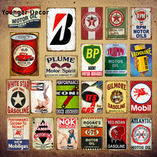 Atlantic Motor Öl Plaque Zinn Zeichen Vintage Retro Garage Decor Bar Pub Gas Benzin Dekorative Platte Texaco Wand Poster YI-068(China)