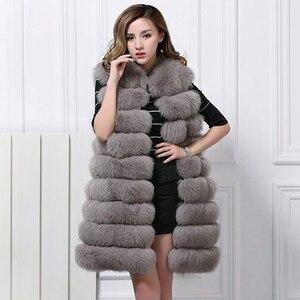 Europa moda 2020 inverno longo do falso pele de raposa colete feminino casaco com capuz de pele do falso gilet sem mangas jaqueta mex S-3XL