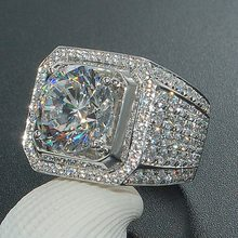 Luxury Male Female Big Engagement Ring Fashion 925 Silver Crystal Zircon Stone Ring Men Women's Vintage Wedding Rings()