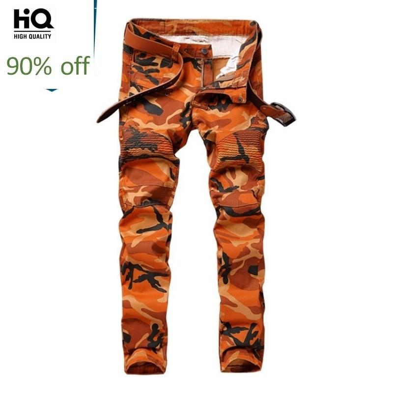 Spring New 3D Printing Denim Pants Men Vintage Camouflage Zipper Jeans Fashion Street Style Straight Leg Biker Trousers Male