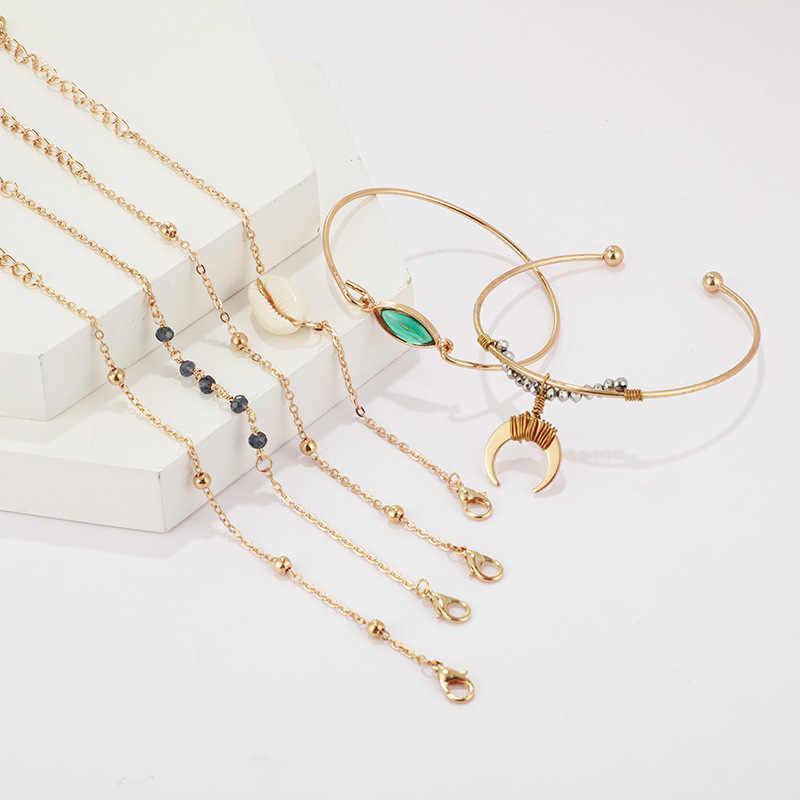 Boho Shell pierre naturelle corne Bracelet ensemble pour les femmes or gland bohème bracelets à la mode breloque faite à la main bijoux 2019 nouvel été