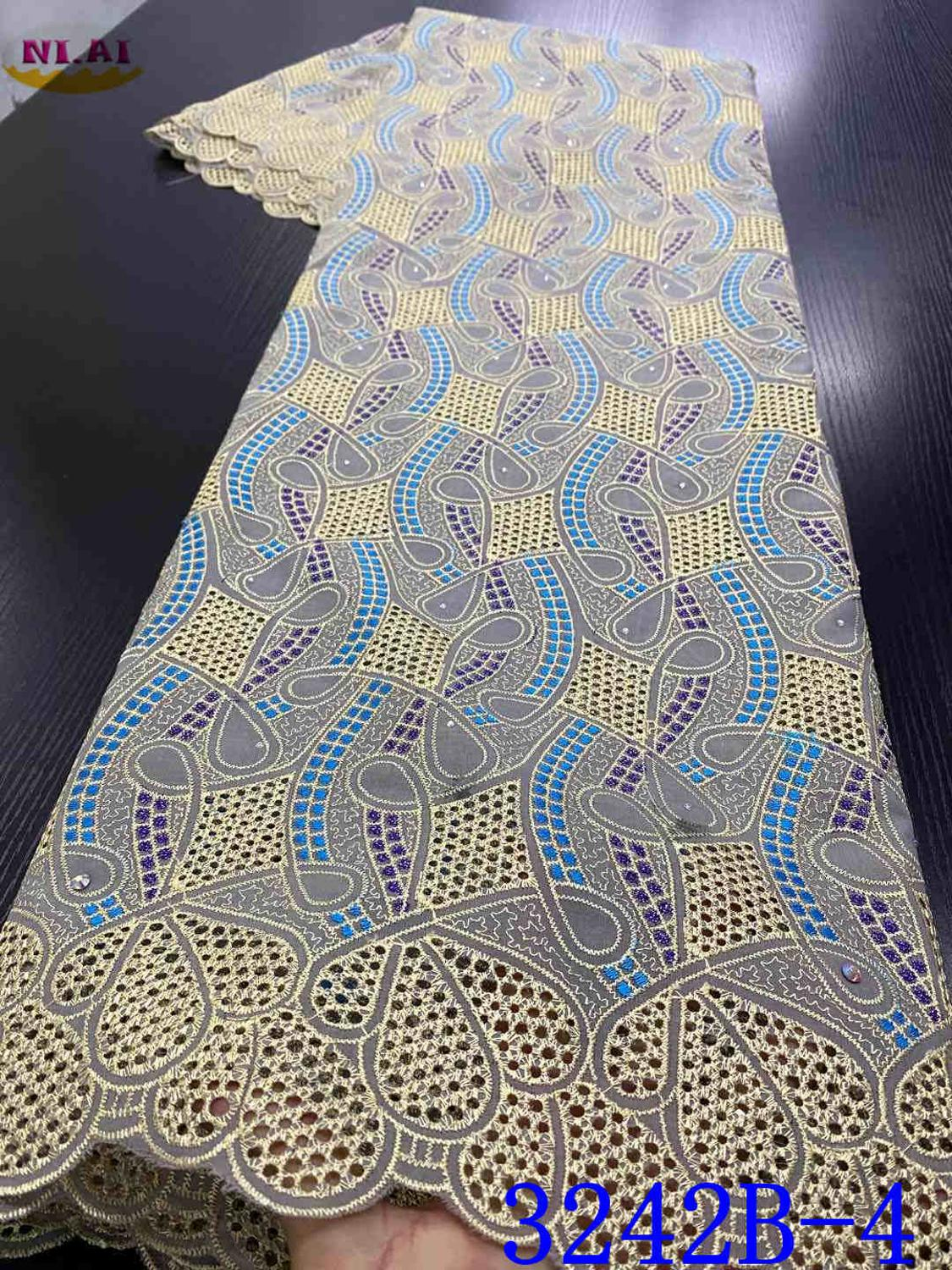 Voile Lace Fabric 2020 High Quality Nigerian African Cotton Lace Fabrics Embroidery Punch Cotton For Daily Sew YA3242B-4