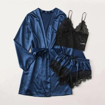 Women Satin Nightgown Lace 3 Pieces Set Female Sleepwear V Underwear Sexy Lingerie Bathrobe Ladies sleepwear Home Clothing