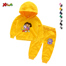 Hot Sale Kids  Dora Explorer Hoodie Trousers Outfit Sweatshirt Tops+ Pants Outfits 2pcs Set Toddler Kids Clothes  Dora Explorer dora the explorer little girls ballet dance pajama set