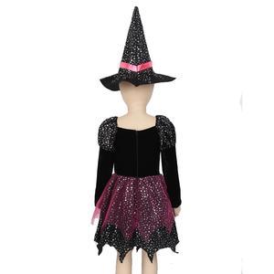 Image 5 - ילדים בנות המכשפה קוספליי תלבושות כסף כוכבים שמלה עם כובע מחודד שרביט סוכריות תיק סט מכשפות קרנבל ליל כל הקדושים תלבושת
