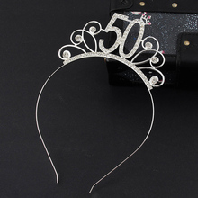 50 Birthday Party Crystal Tiara Crown Birthday Queen Headband Hair Accessories for Women Happy 50th Birthday Party Decorations