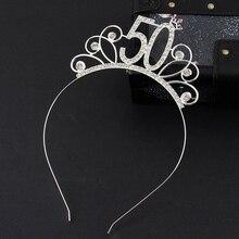 Corona de diadema de cristal para fiesta de cumpleaños, accesorios para el cabello de reina de cumpleaños para mujer, 50 decoraciones para fiesta de cumpleaños