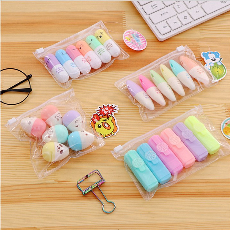 6 Pcs/lot Mini Candy Color Highlighter Creative 6 Colors Drawing Painting Art Marker Pen School Supplies Stationery Gift