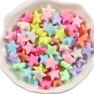 100/200 pces doces cor estrela de cinco pontas acrílico solta contas para fazer jóias diy atacado 14x12x5mm