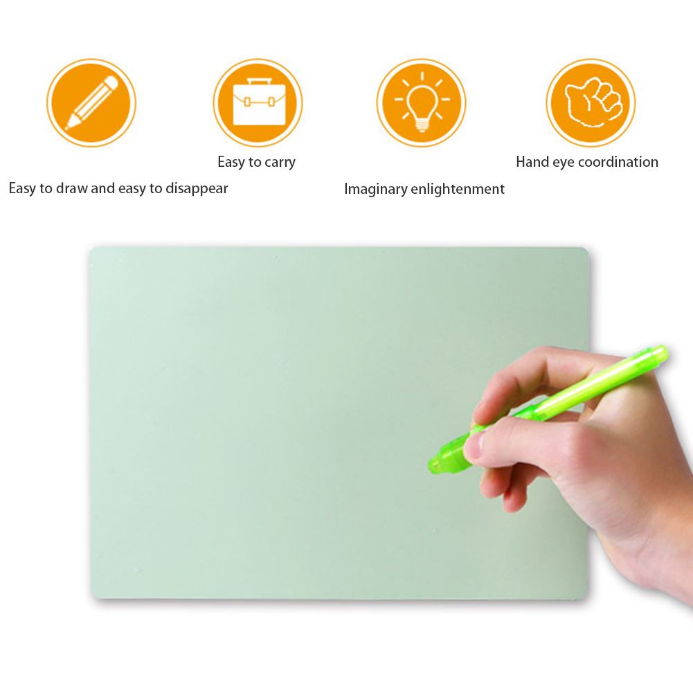 Student Fluorescent Lighting Writing Pad Magic Green Children Drawing Board Educational School