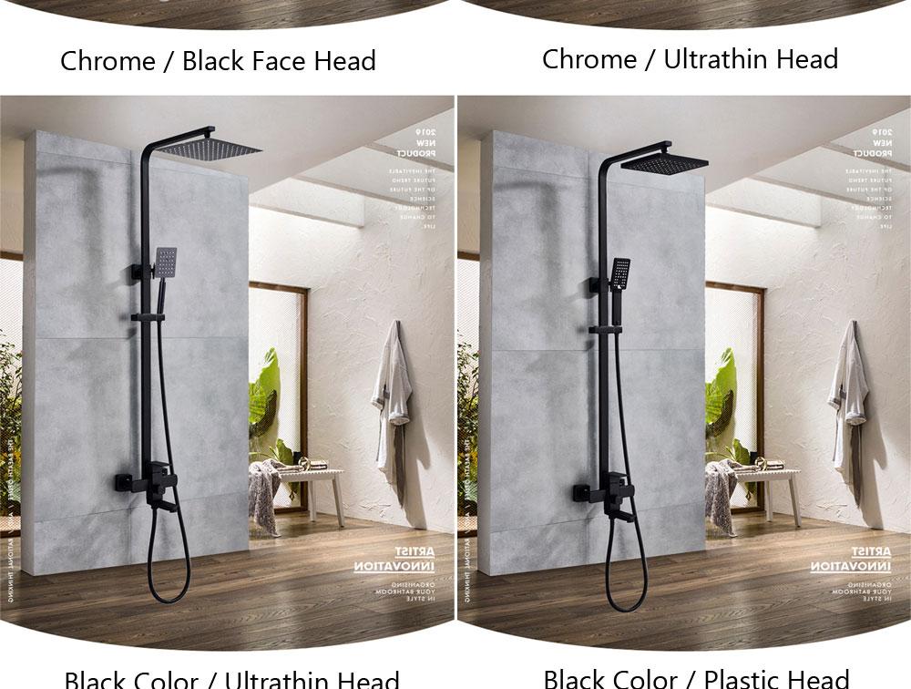 H2da28055ef754151b1768236d3b5a7c67 POIQIHY Black Bathroom Shower Faucet Set Wall Mount Black 8''Rainfall Shower Head With Handheld Sprayer Bathtub Shower Mixer