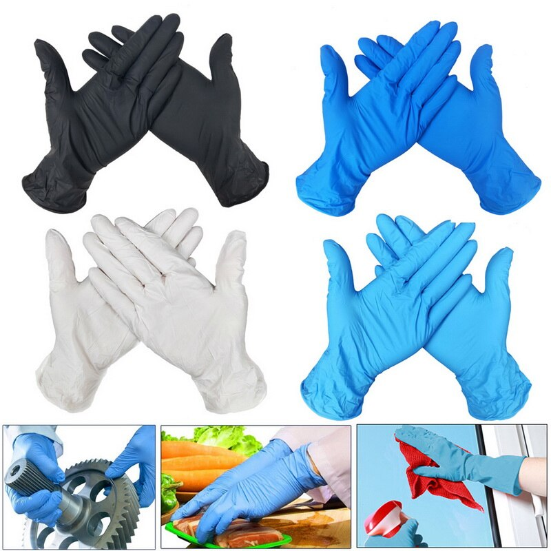 100 PCS Disposable Nitrile Gloves and Multi Purpose Latex Gloves for Virus and Flu Protection 38