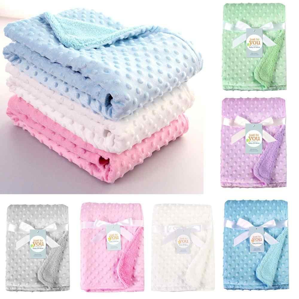 Manta de bebé recién nacido manta de lana térmica suave cochecito de dormir cubierta de dibujos animados Beanie ropa de cama infantil Swaddle Wrap niños Toalla de baño