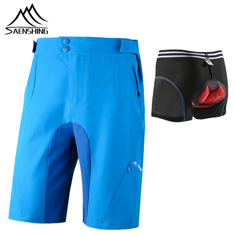 SAENSHING Cycling Shorts With 5d Gel Underwear 5D Sillicon Breathable Downhill Mtb Shorts Men Outdoor Bisiklet Bermuda Ciclismo