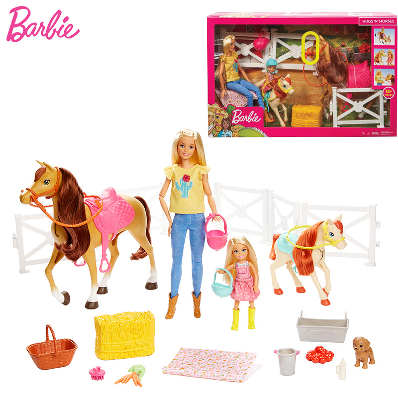 Original Barbie Dolls Horses and Accessories Baby Girl Toys For Children Bonecas