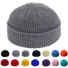 Bonnet tricoté en cuir de Melon pour homme et femme, en laine, chaud, automne et hiver