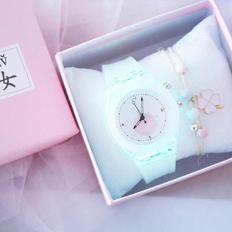 Çocuk silikon kayış saatler elektronik renkli ışık kaynağı çocuk izleyici kızlar doğum günü partisi hediyelik saat öğrenci izle