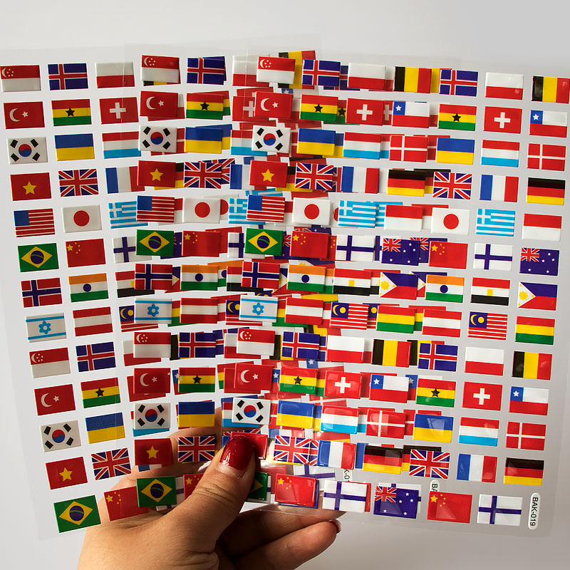 270PCS National Flags Stickers Toys For Children Countries Map Travel Sticker To DIY Scrapbooking Suitcase Laptop Car Motorcycle