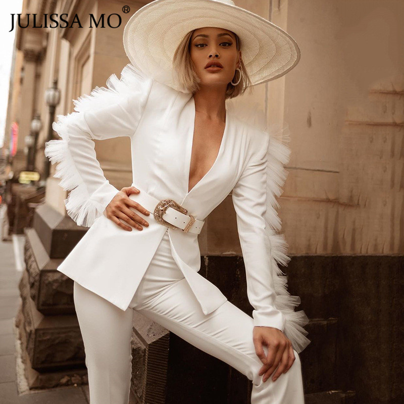 JULISSA MO White V-Neck Mesh Spliced Sexy Blazer And Pants Set 2 Piece Women Autumn Winter Long Sleeve Elegant Jacket Suits 2019