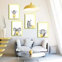 Мультфильм Забавный Зебра слон жираф коала Холст Картина жевательная