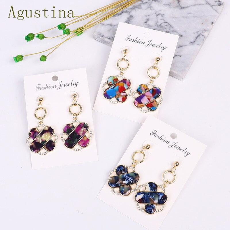Bohemian Multicolor Acrylic Earrings Fashion Resin Drop Earrings For Women Geometric Earrings Statement Wedding Jewelry Gift