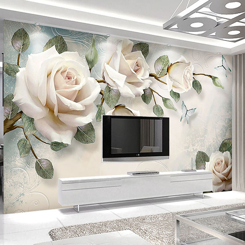 Custom Modern Hand Painted Oil Painting Floral European Style 3D Stereoscopic Embossed Rose TV Background Decor Wallpaper Flower