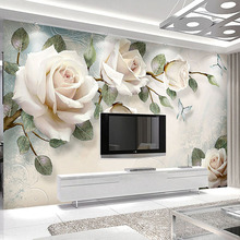 Custom Modern Hand Painted Oil Painting Floral European Style 3D Stereoscopic Embossed Rose