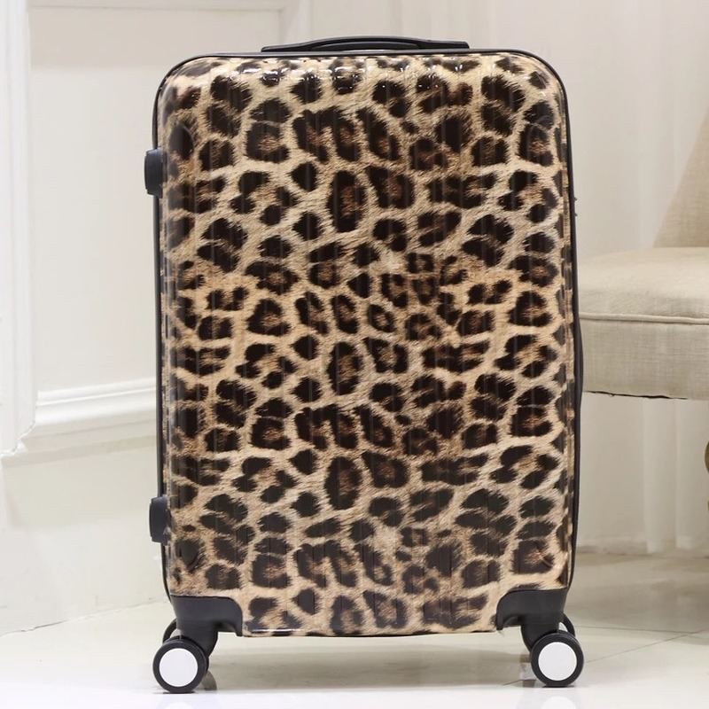 GALANODEL Fashion Trolley Suitcase Zebra Leopard Print Unisex Rolling Luggage Carry On Travel Bags On Wheel Cabin Luggage