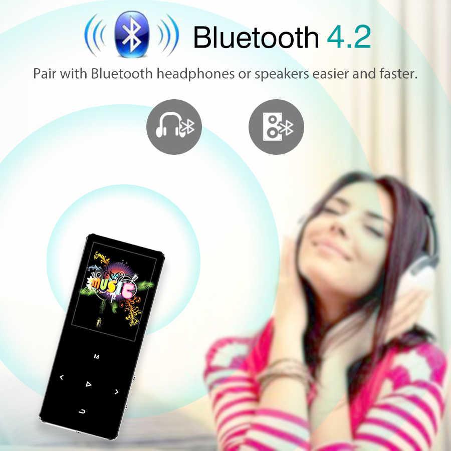REDANT MP3 Player with Bluetooth 4.2 and 1.8 Screen touch keys hifi fm radio mini sport MP 3 music player portable metal walkman
