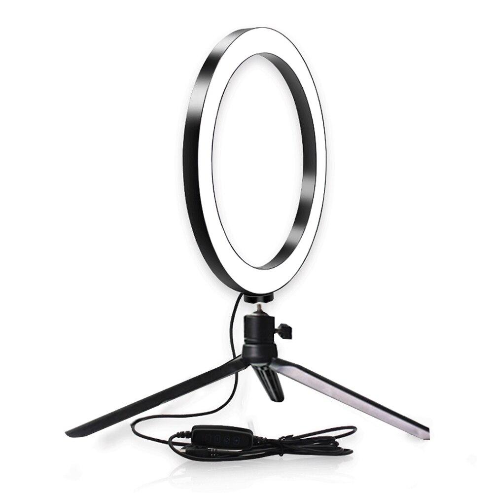 Compact Lightweight Selfie Mini Portable Universal Camera Tripod Set Including Fill Light Matte Black