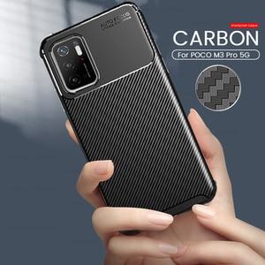 Image 1 - M3pro Case Carbon Fiber Textuur Telefoon Cover Voor Xiaomi Poco M3 Pro 5G 2021 M2103k19pg 6.5 Zachte Siliconen frame Shockproof Coque