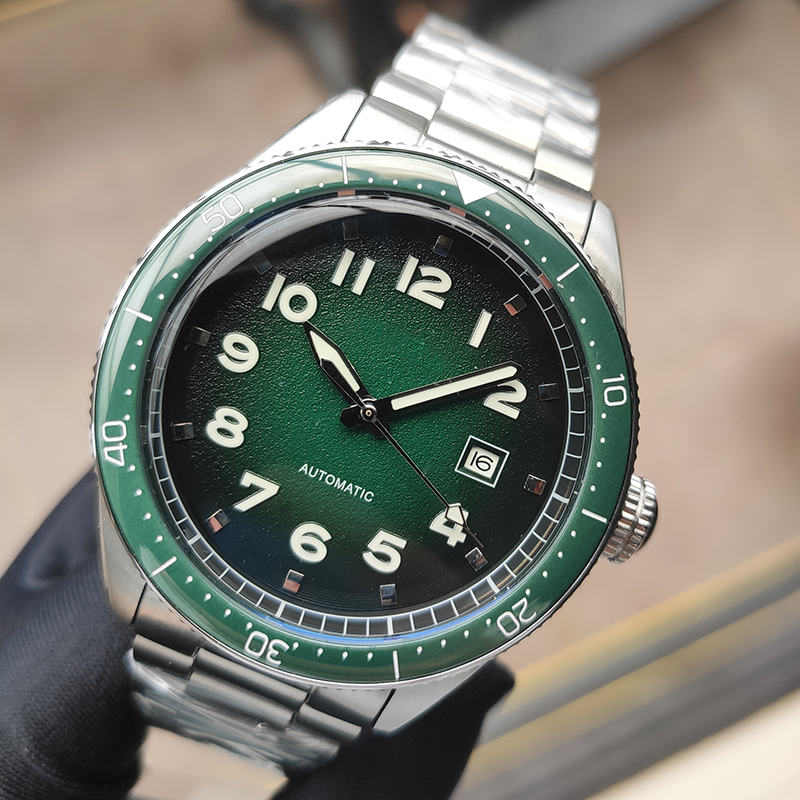 PHYLIDA Design 2020 Luxury Business Sport Mechanical Wristwatch Green Dial Mens Watches Automatic Stainless Steel 50M Waterproof