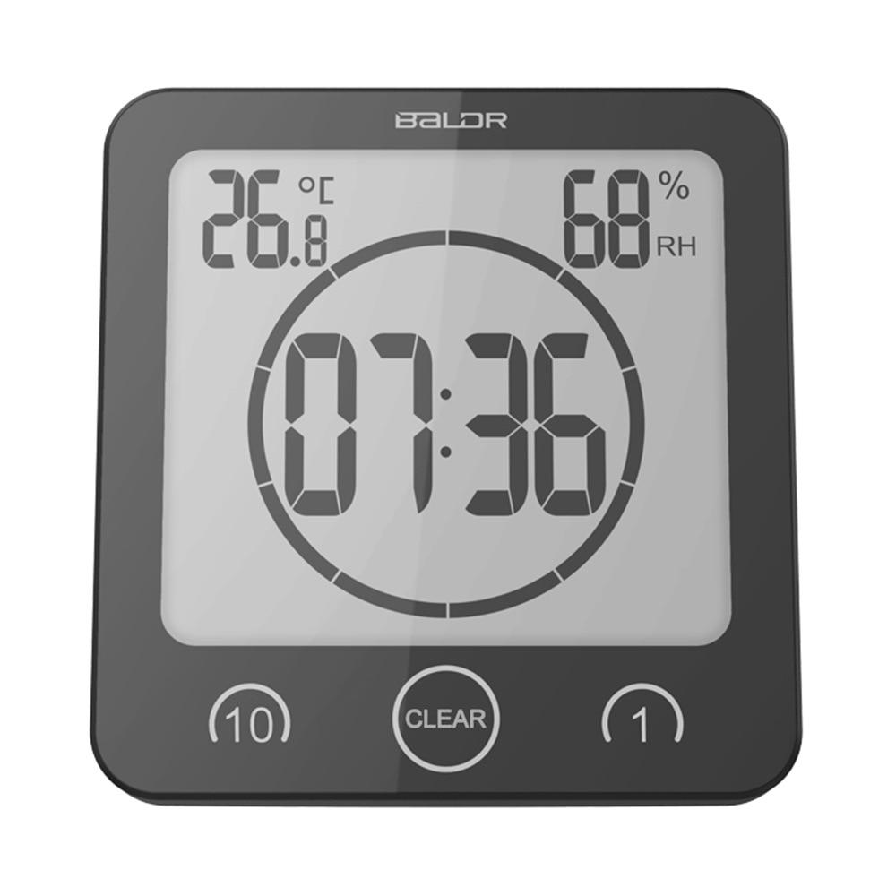 Baldr LCD Digital Waterproof Water Splashes Bathroom Wall Clock Shower Clocks Timer Temperature Humidity Station