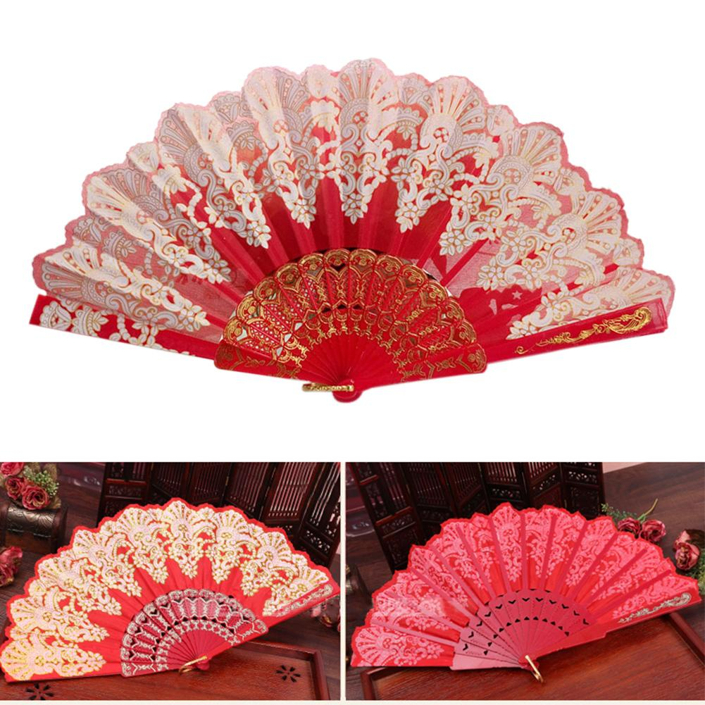 Spanish Style Dance Party  Fan Wedding  Silk Fan Folding  Held Flower Fan Lady  Folding Hand Fan
