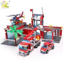 HUIQIBAO – Bloc de 774 jouets à assembler pour enfant, construction d'une caserne de pompier avec son camion et d'une ville, éducatif