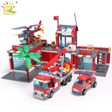 HUIQIBAO estación de bomberos en miniatura para niños, 774 Uds., bloques de construcción, ciudad, bombero, camión, Ladrillos educativos, juguetes