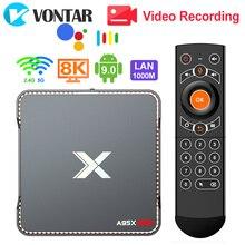 Caixa de tv a95x max x2, android 8.1, 4gb e 64gb, amlogic s905x2 2.4g & 5g, wi fi, bt4.2 caixa de televisão smart 1000m, suporte para gravação de vídeo