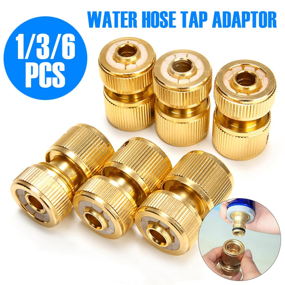 6Pcs Quick Water Pipe Connectors Hose Tap Adaptor Universal Brass Connector For 1/2