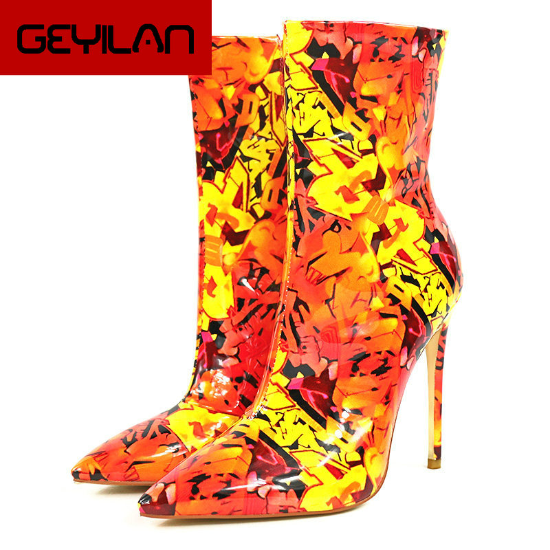 Spring Autumn Multicolor Ankle Boots Women Faux Leather Fashion Super High Heel Boots Sexy Pointed Toe Zipper Boots Ladies Shoes