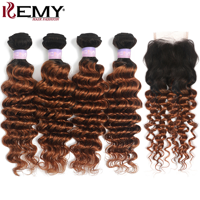 1B 30 Human Hair Bundles With Closure 4x4 Ombre Brown Brazilian Deep Wave Bundles With Closure Non-Remy Hair Extension KEMY HAIR