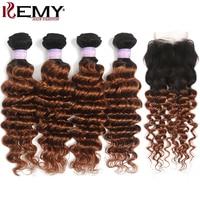 1B 30 Human Hair Bundles With Closure 4x4 Ombre Brown Brazilian Deep Wave Bundles With Closure Non Remy Hair Extension KEMY HAIR