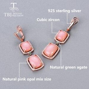Image 3 - Женский комплект украшений с опалом, кольцо и сережки из серебра 925 пробы с натуральным розовым опалом и изумрудом, 2020