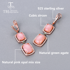 Image 3 - Opal jewelry set natural pink opal match emerald 925 sterling silver ring and earring fine jewelry for women new style 2020